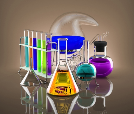 Various chemical vessels with colored chemicals symbolize science Stockfoto