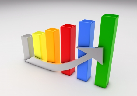 bar graph: Illustration of a growing bar graph