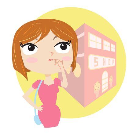 indeciso: Ilustraci�n de una mujer indecisa.