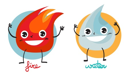 Illustration of two characters  fire and water  Vector