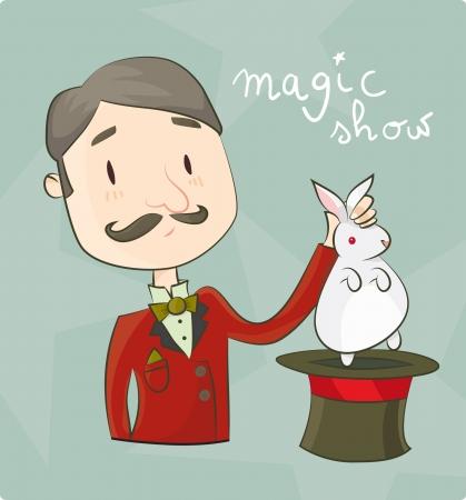 Ilustración de un mago con un conejo Ilustración de vector