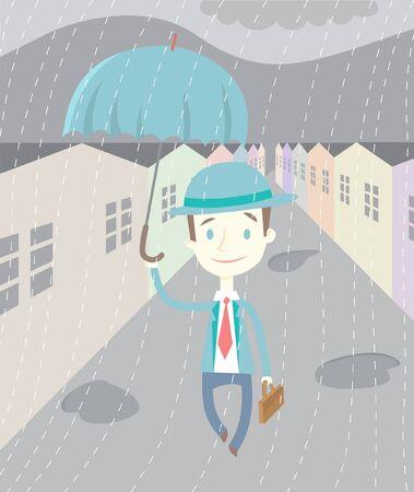 neighbourhood: Illustration of a man in the rain. Illustration