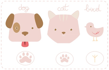 Illustration of a dog, a cat and a bird. Vector