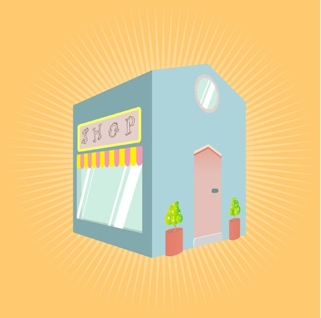 illustration of a little blue shop with sign. Vector