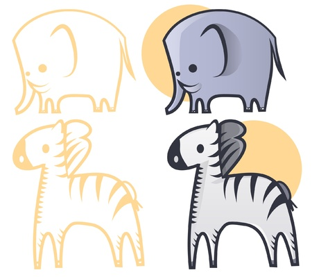 Illustration of an elephant and a zebra.