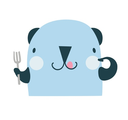 starving: Illustration of a cute greedy dog