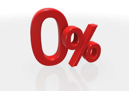 per cent: Illustration of a red zero per cent.