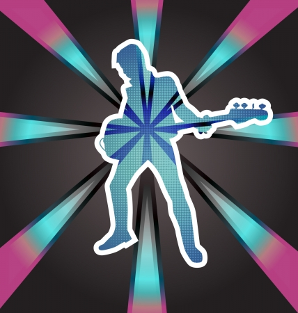 bassist: Graphic illustration of a bass player. Illustration
