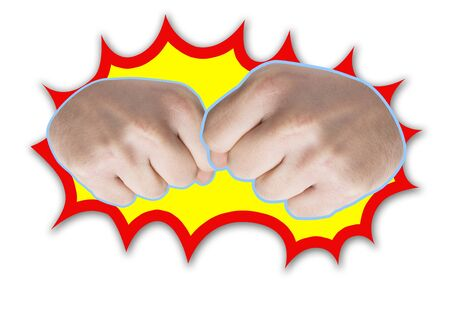Picture of two frontal fists with power decoration. photo