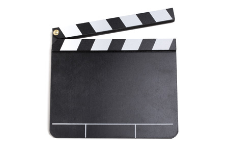 Close up picture of a clapperboard with white background Imagens