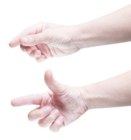 zooming: Set of two hands gesturing for zooming on tablet.