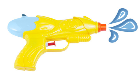 watergun: Image of a yellow waterpistol background isolated  Stock Photo