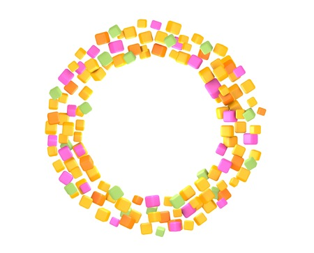 Circle of colored cubes. 3D rendering photo