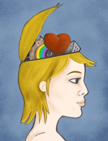 Illustration of a woman with open head and cute things inside illustration
