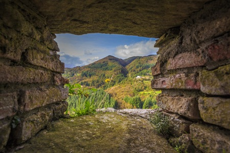 embrasure: View from an embrasure of a beautiful hill. Stock Photo