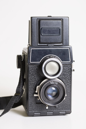 Close-up picture of an old fashoned medium format camera photo