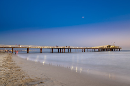 The jetty of Lido di Camaiore in the evening, Tuscany, Italy.