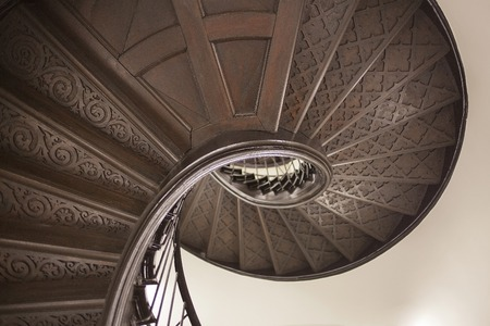 spiral staircase: Picture of a wooden circular staircase