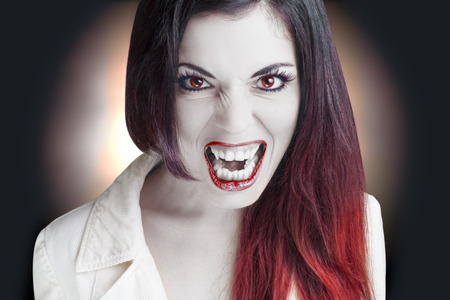 Portrait of an angry Lady Vampire. Stock Photo