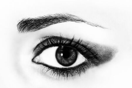cornea: Macro picture of the eye of a woman. Black and white photography.