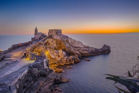 View of the church of Porto Venere, in the coast of La Spezia, Italy. Stock Photo