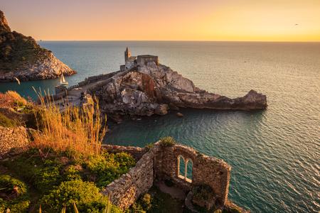 alte: View of the church of Porto Venere, in the coast of La Spezia, Italy. Stock Photo