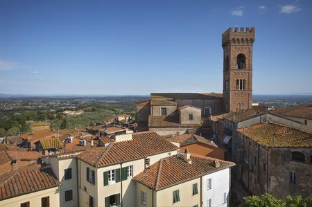 View of Montecarlo, Lucca. Italian city of wine. Imagens