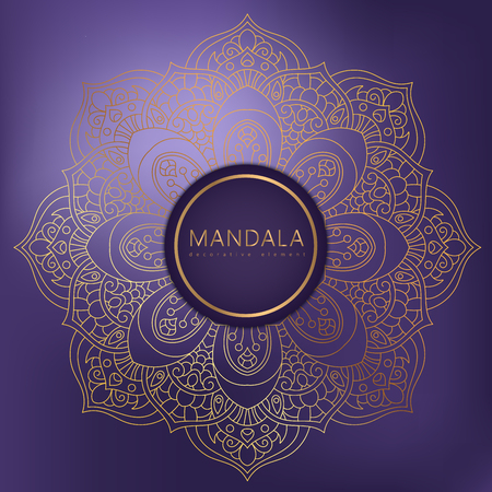 Vector round circle. Mandala style. Decorative element with gold.