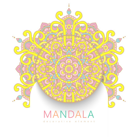Vector round abstract circle. Mandala style. Decorative element, colored circular design element.