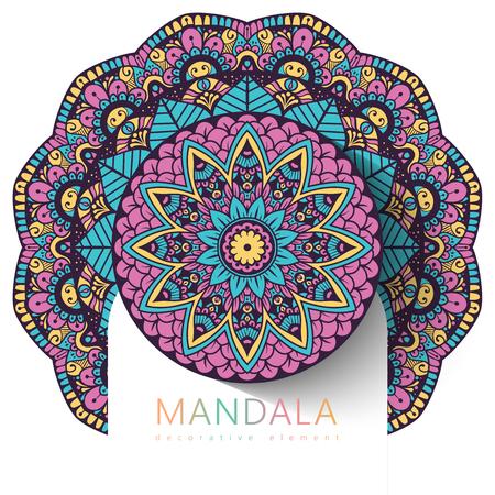 Vector ronde abstracte cirkel. Mandala-stijl. Decoratief element, gekleurd cirkelvormig ontwerpelement. Stickereffect. Vector Illustratie
