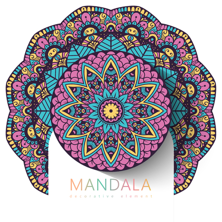 Vector round abstract circle. Mandala style. Decorative element, colored circular design element. Sticker effect. Ilustração