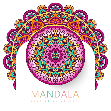 Vector round abstract circle. Mandala style. Decorative element, colored circular design element. Sticker effect. Stock Illustratie