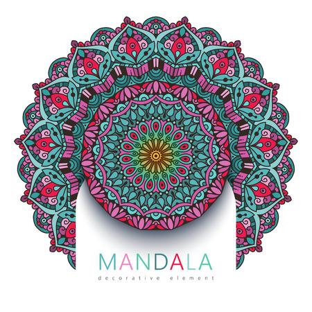 Vector round abstract circle. Mandala style. Decorative element, colored circular design element. Sticker effect. Ilustração