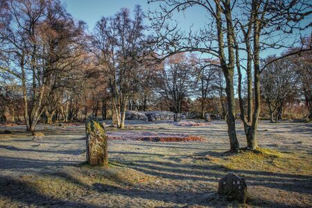 Winters view of Clava Cairn under frost in Inverness Scotland.