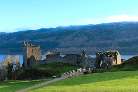 Beautiful deserted view of the Urquhart Castle ruins and Loch Ness on an early winters day. Editorial