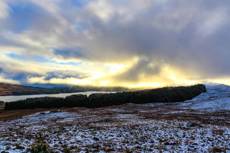 Winters sunset in the Scottish Highlands from Fort William.