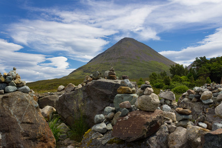 Multiple Summit marker Cairns placed at Tir Nan Iolaire or The Land of the Eagles on the Isle of Skye in Scotland.