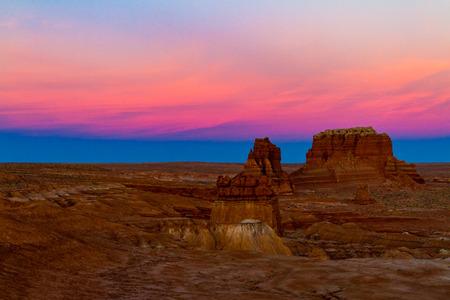 Spectacular vibrant fluorescent sunset on Goblin Valley State Park in Utah USA. Stock Photo