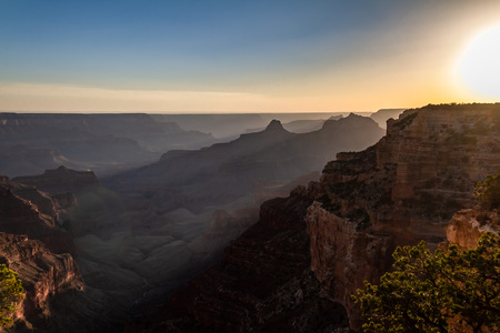 Majestic sunset view of the North Rim of the Grand Canyon in Arizona, USA