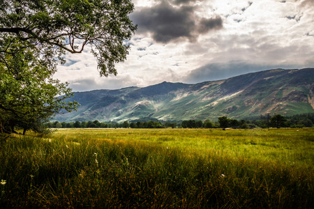 Beautiful and serene landscape of a cloudy day in the Lake District in Cumbria, England UK. Zdjęcie Seryjne