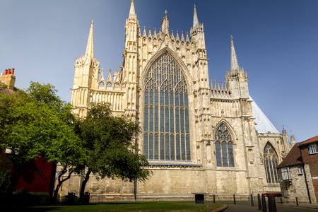 Beautiful view of York Minster Cathedral on a sunny summer day in Yorkshire, England UK.