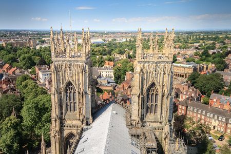 Incredible panoramic view of the city of York and the rooftop and spires of York Minster Cathedral In Yorkshire, England UK. Zdjęcie Seryjne