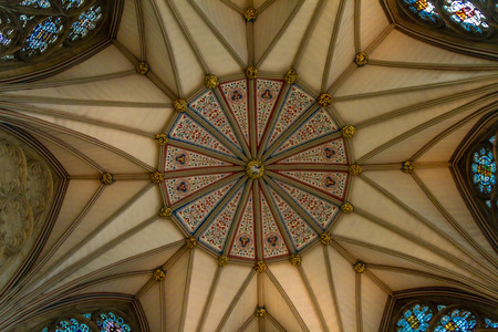 Gorgeous ceiling of the Chapter house of York Minster Cathedral in Yorkshire, England UK