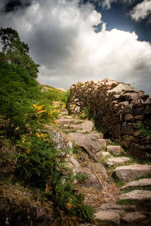 Gorgeous stairway to heaven or stone steps in the Lake District National Park in Cumbria, England.