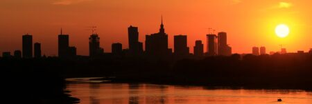 Sunset over Warsaw city, Poland Stock Photo