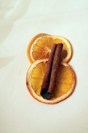 dried orange slices with cinamon Stock Photo