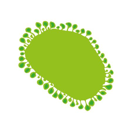 Vector illustration imitating a microscopic coronavirus particle, seen through an electron microscope. Graphic element and template, abstract health concept. Vetores