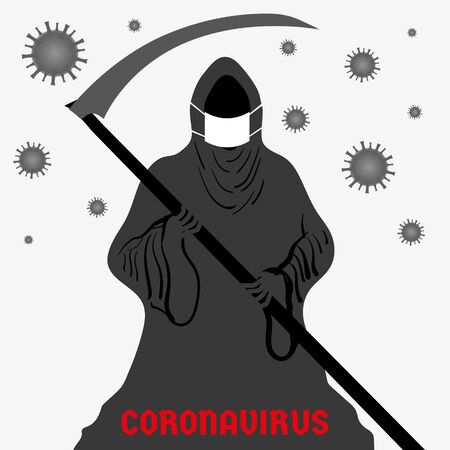 Abstract vector illustration depicting a dark grim reaper in a protective mask in the fight against coronavirus. Graphic element and template for a banner, poster.