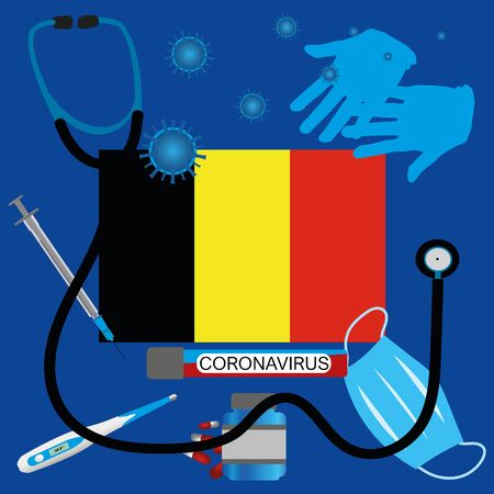 Vector illustration of a coronavirus epidemic in Belgium. Protective mask, gloves, medicines and medical equipment. Belgian flag and coronavirus blood sample. Coronavirus 2019-nCoV.Graphic element.