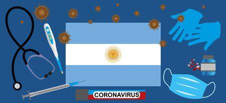 Vector illustration of a coronavirus epidemic in Argentina.Protective mask, gloves, medicines and medical equipment.Argentina flag and coronavirus blood sample.Coronavirus 2019-nCoV.Graphic element.